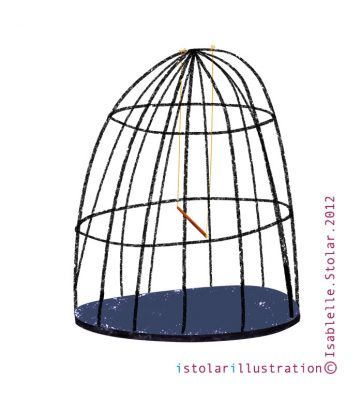 illustration, cage, bird
