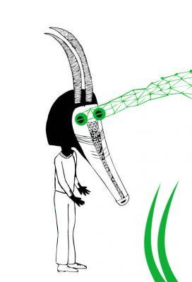 masque debout vert