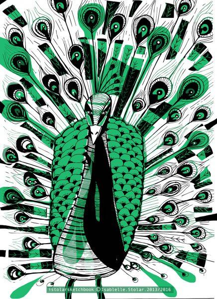 le paon 1 noir et vert