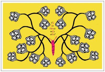 CARTE papillon fleur JAUNE BIS