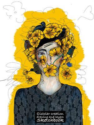 femme fleur et oiseaux  brouillon copy