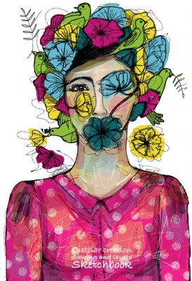 femme fleur et oiseaux-dry brush