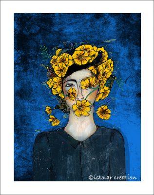 femme fleur et oiseaux portfolio nuit