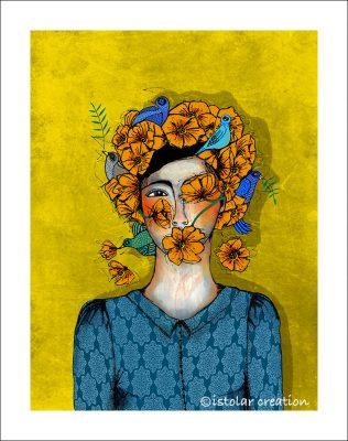 femme fleur et oiseaux portfolio