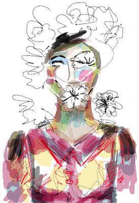 femme fleur et oiseauxetape